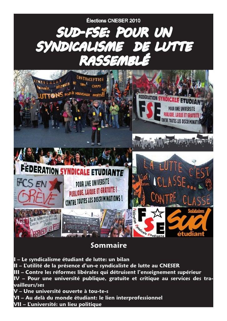 élections CNESER 2010             SUD-FSE: PoUr Un         SynDicaliSmE DE lUttE               raSSEmblé                  ...