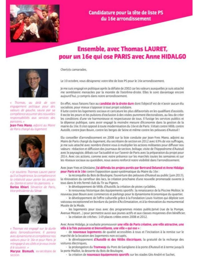 Profession de foi Thomas Lauret - Investiture tête de liste