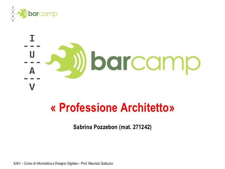 « Professione Architetto» Sabrina Pozzebon (mat. 271242) IUAV – Corso di Informatica e Disegno Digitale – Prof. Maurizio G...