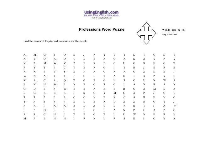 © 2005 UsingEnglish.com                                                Professions Word Puzzle                            ...