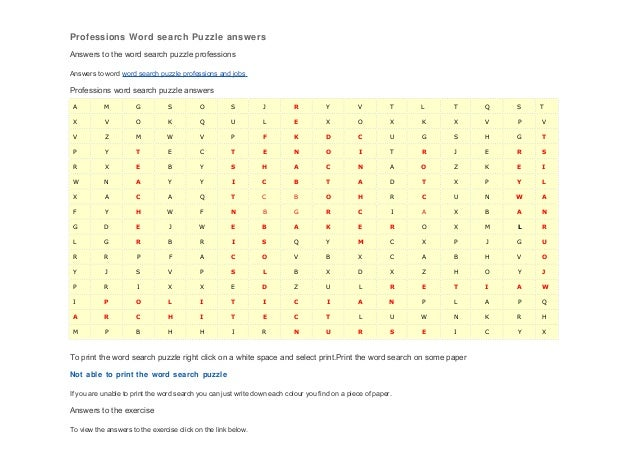 Professions Word search Puzzle answersAnswers to the word search puzzle professionsAnswers to word word search puzzle prof...