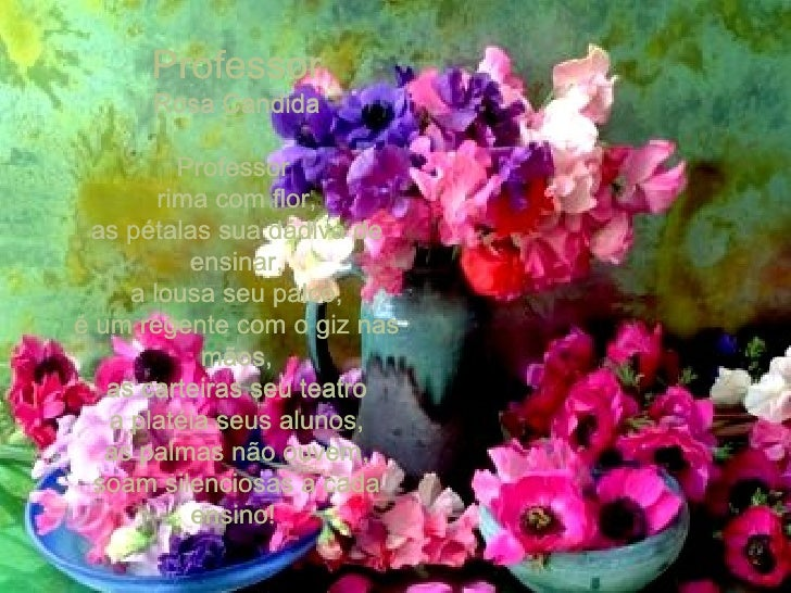 Professor Rosa Candida Professor  rima com flor, as pétalas sua dádiva de ensinar, a lousa seu palco, é um regente com o g...