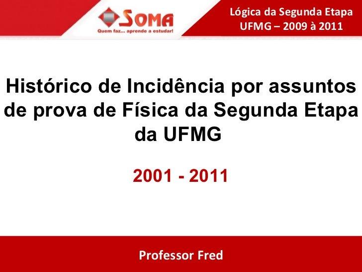 Histórico de Incidência por assuntos de prova de Física da Segunda Etapa da UFMG  2001 - 2011 Professor Fred Lógica da Seg...