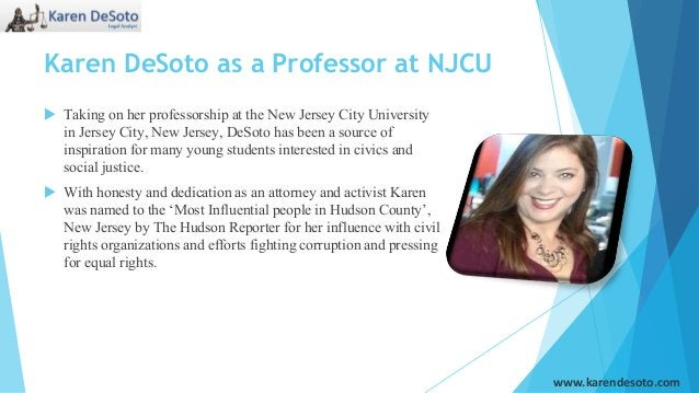 Karen DeSoto as a Professor at NJCU  Taking on her professorship at the New Jersey City University in Jersey City, New Je...