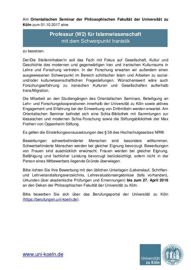 wwwuni koelnde am orientalischen seminar der philosophischen fakultt der universitt zu - Uni Koln Bewerbung