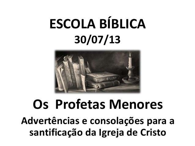 ESCOLA BÍBLICA 30/07/13  Os Profetas Menores Advertências e consolações para a santificação da Igreja de Cristo