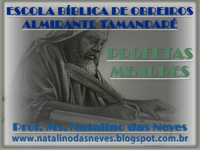 ESCOLA BÍBLICA DE OBREIROS ALMIRANTE TAMANDARÉ  PROFETAS MENORES  Prof. Ms. Natalino das Neves