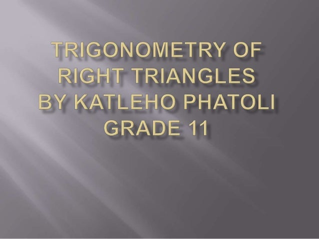 TRIGONOMETRIC RATIOS  Consider a right triangle with  as one of its acute angles. The trigonometric ratios are defined as...