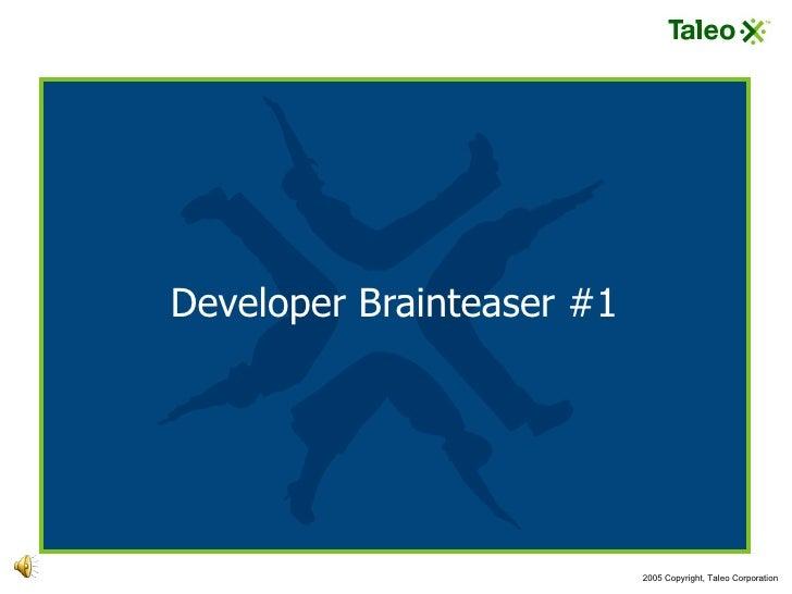 Developer Brainteaser #1