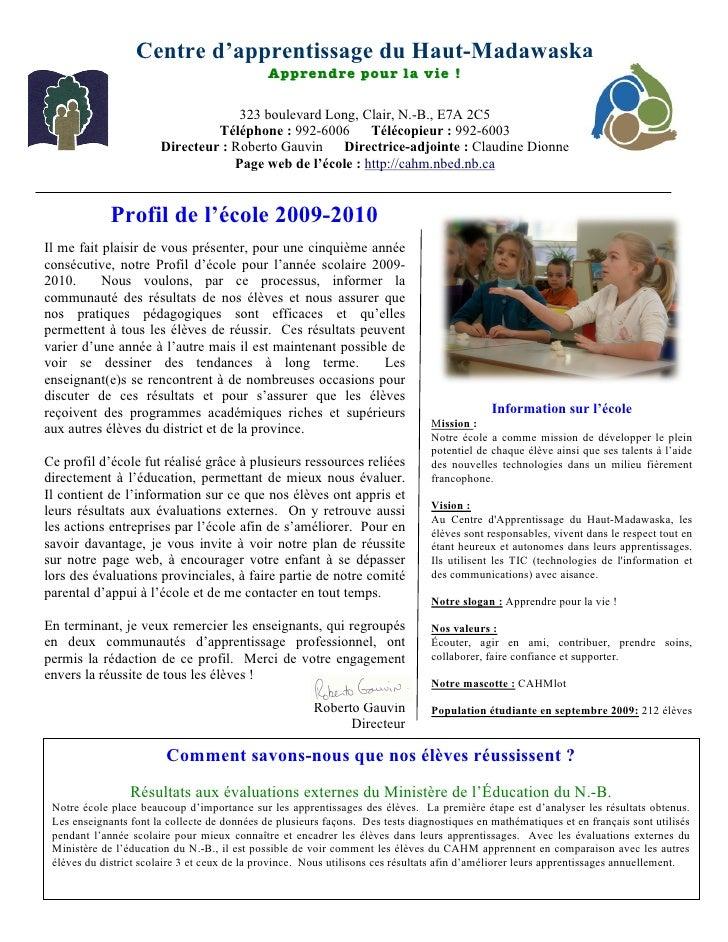 Profil 2009-2010 du CAHM