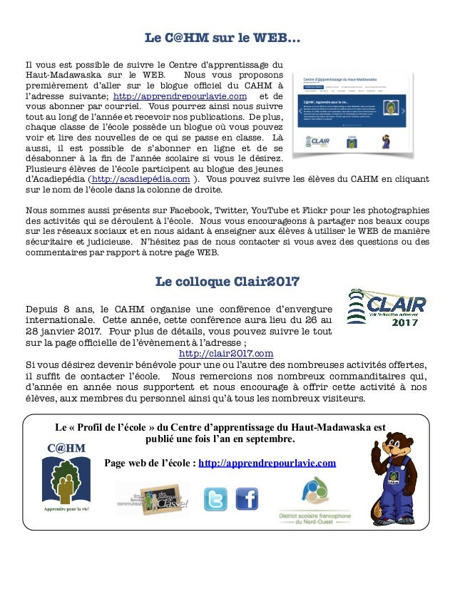 Le « Profil de l'école » du Centre d'apprentissage du Haut-Madawaska est publié une fois l'an en septembre. Page web de l'...