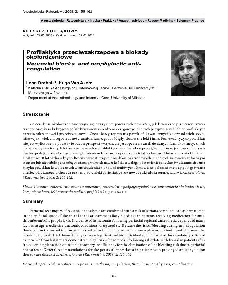 Anestezjologia i Ratownictwo 2008; 2: 155-162              Anestezjologia • Ratownictwo • Nauka • Praktyka / Anaesthesiolo...