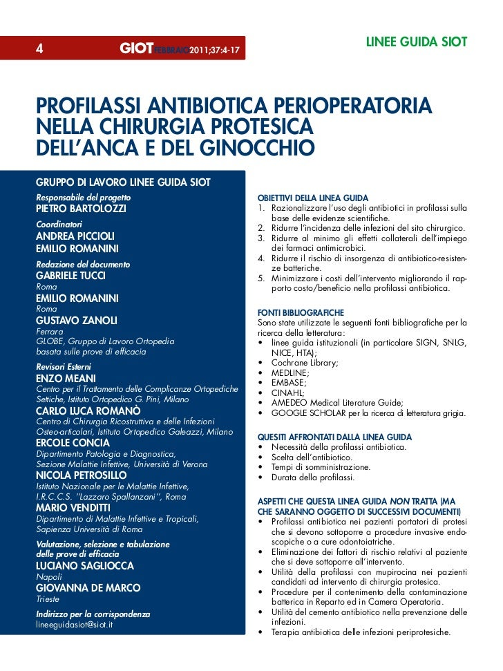 linee guida siot4                                 febbraio2011;37:4-17profilassi antibiotica perioperatorianella chirurgia...
