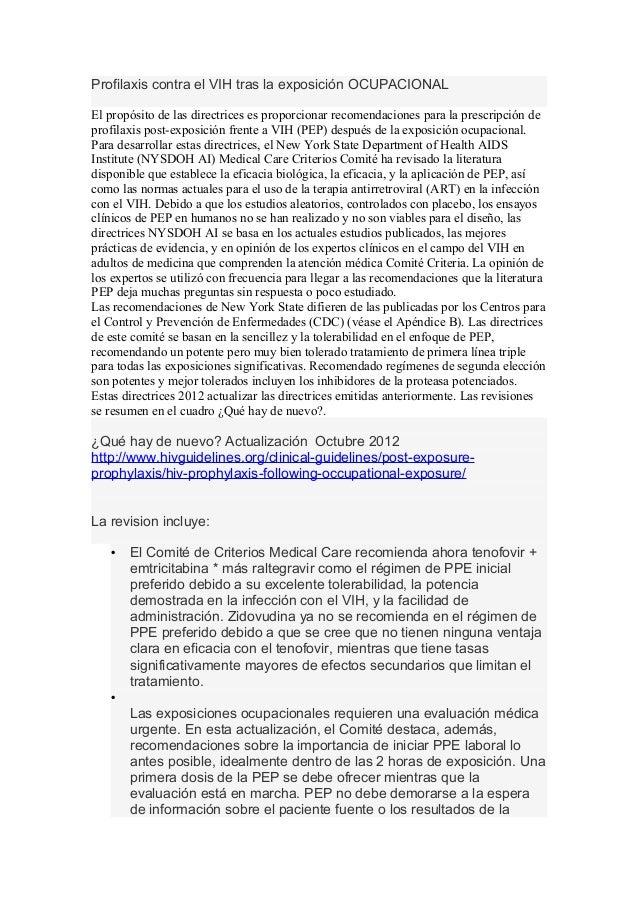 Profilaxis contra el VIH tras la exposición OCUPACIONALEl propósito de las directrices es proporcionar recomendaciones par...