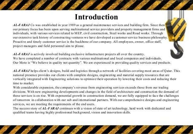 Construction Company Profile template – Sample Company Profile Format in Word