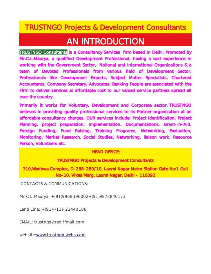 TRUSTNGO Projects & Development Consultants                           AN INTRODUCTIONTRUSTNGO Consultants is a Consultancy...