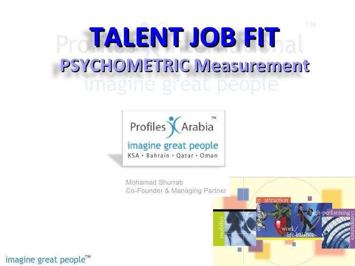TALENT JOB FIT PSYCHOMETRIC Measurement           Mohamad Shurrab       Co-Founder & Managing Partner