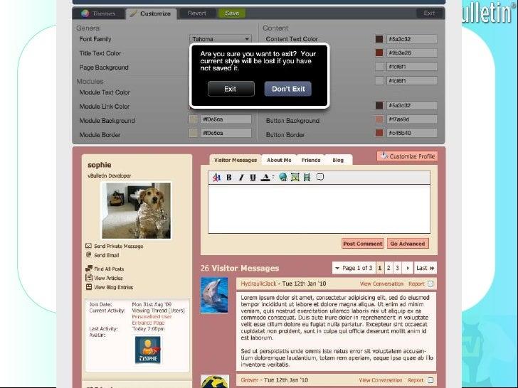 vBulletin forum software Profile customization