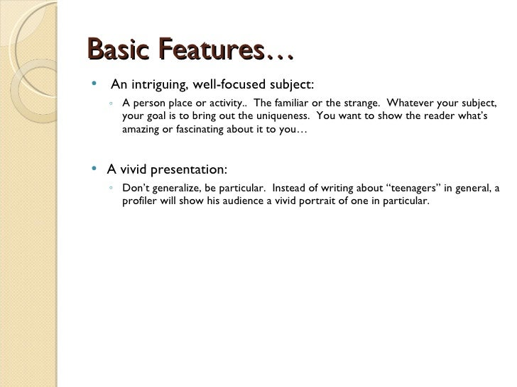 what is a profile essay