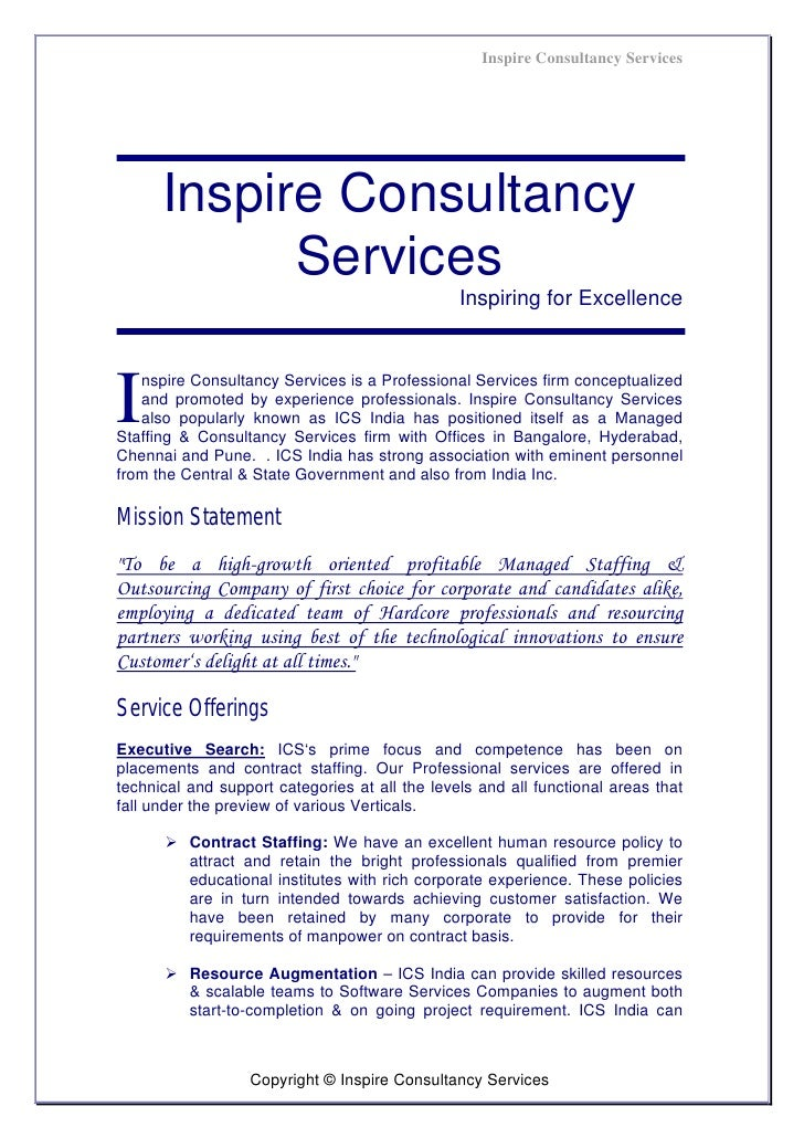 Inspire Consultancy Services      Inspire Consultancy            Services                                                I...