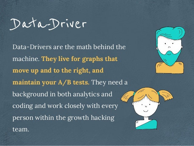 Data-Drivers are the math behind the machine. They live for graphs that move up and to the right, and maintain your A/B te...