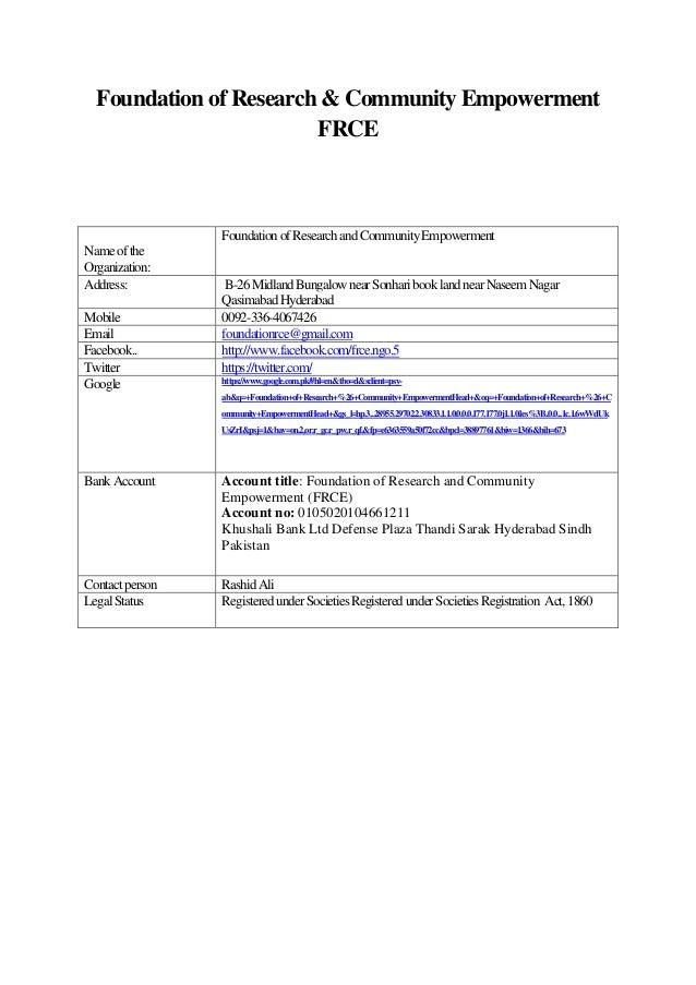 Foundation of Research & Community Empowerment                        FRCE                 Foundation of Research and Comm...