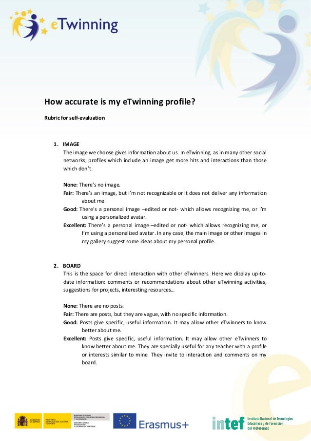 How accurate is my eTwinning profile? Rubric for self-evaluation 1. IMAGE The image we choose gives information about us. ...