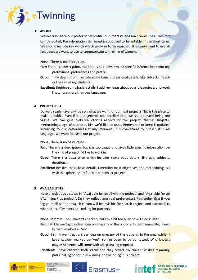eTwinning Live profile: rubric Slide 2