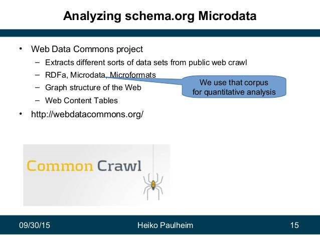 09/30/15 Heiko Paulheim 15 Analyzing schema.org Microdata • Web Data Commons project – Extracts different sorts of data se...