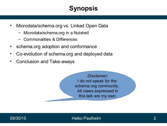 09/30/15 Heiko Paulheim 2 Synopsis • Microdata/schema.org vs. Linked Open Data – Microdata/schema.org in a Nutshell – Comm...