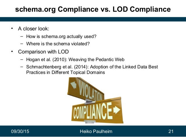 09/30/15 Heiko Paulheim 21 schema.org Compliance vs. LOD Compliance • A closer look: – How is schema.org actually used? – ...