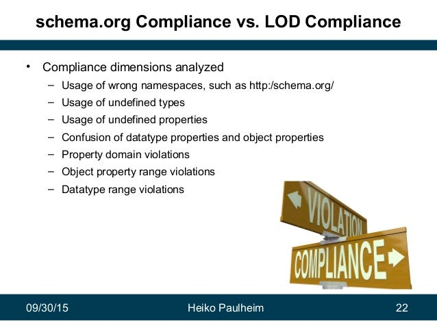 09/30/15 Heiko Paulheim 22 schema.org Compliance vs. LOD Compliance • Compliance dimensions analyzed – Usage of wrong name...