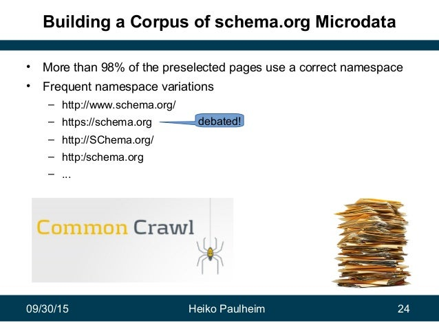 09/30/15 Heiko Paulheim 24 Building a Corpus of schema.org Microdata • More than 98% of the preselected pages use a correc...