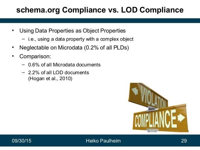 09/30/15 Heiko Paulheim 29 schema.org Compliance vs. LOD Compliance • Using Data Properties as Object Properties – i.e., u...