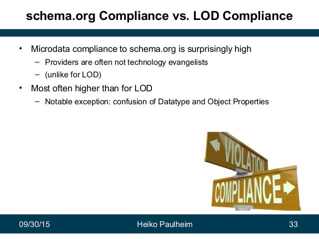 09/30/15 Heiko Paulheim 33 schema.org Compliance vs. LOD Compliance • Microdata compliance to schema.org is surprisingly h...