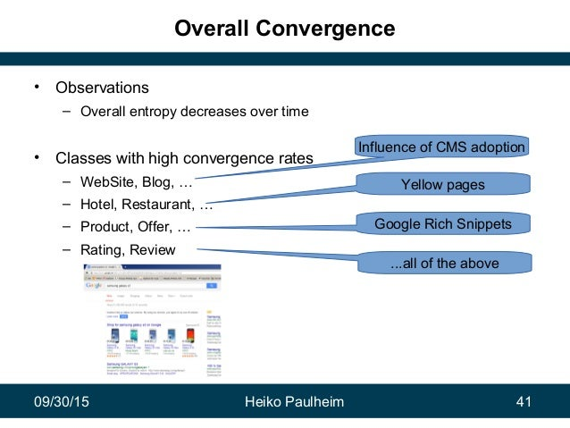 09/30/15 Heiko Paulheim 41 Overall Convergence • Observations – Overall entropy decreases over time • Classes with high co...