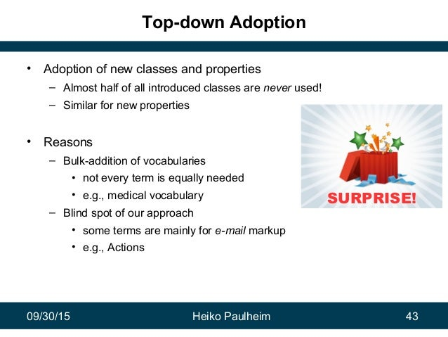 09/30/15 Heiko Paulheim 43 Top-down Adoption • Adoption of new classes and properties – Almost half of all introduced clas...