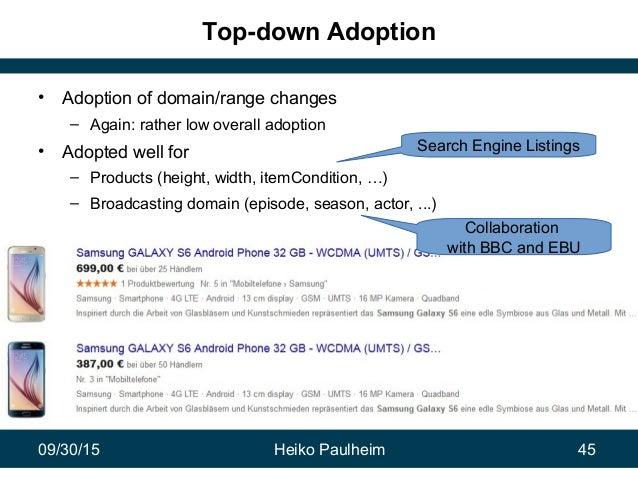 09/30/15 Heiko Paulheim 45 Top-down Adoption • Adoption of domain/range changes – Again: rather low overall adoption • Ado...