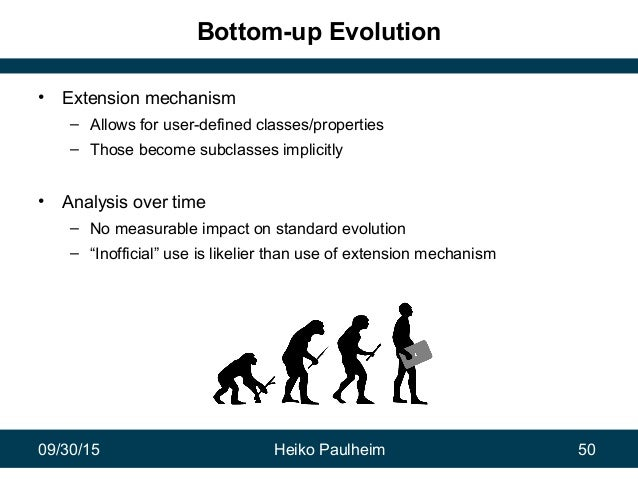 09/30/15 Heiko Paulheim 50 Bottom-up Evolution • Extension mechanism – Allows for user-defined classes/properties – Those ...