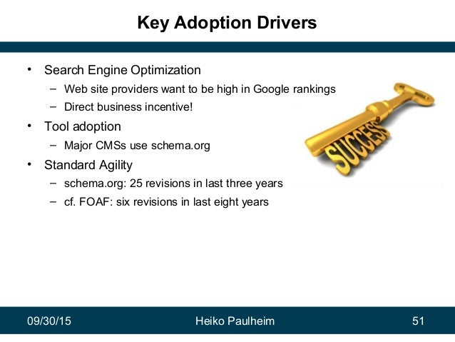 09/30/15 Heiko Paulheim 51 Key Adoption Drivers • Search Engine Optimization – Web site providers want to be high in Googl...