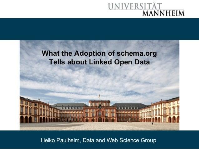 09/30/15 Heiko Paulheim 58 What the Adoption of schema.org Tells about Linked Open Data Heiko Paulheim, Data and Web Scien...