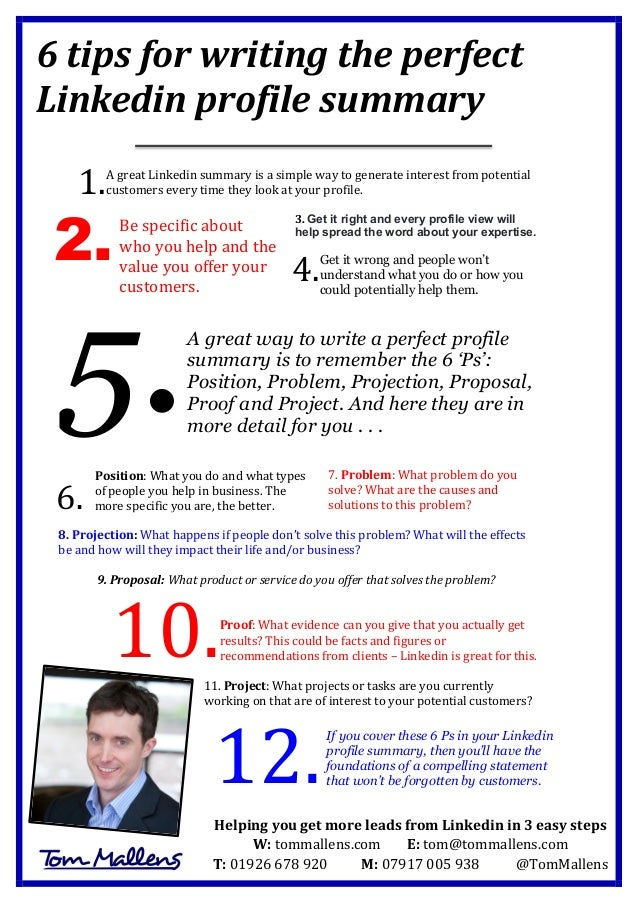 6 Tips For Writing The Perfect Linkedin ...  Profile Writing