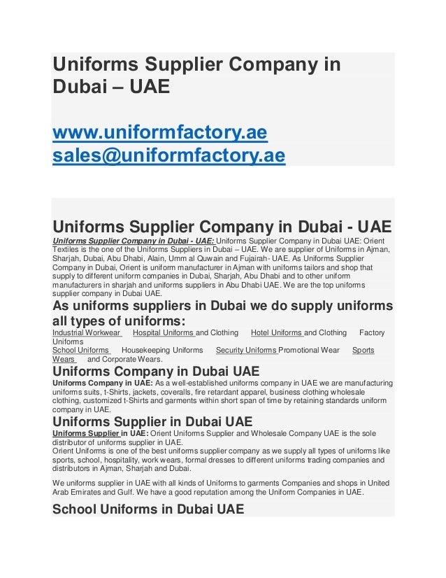 Profile uniforms suppliers in dubai uae