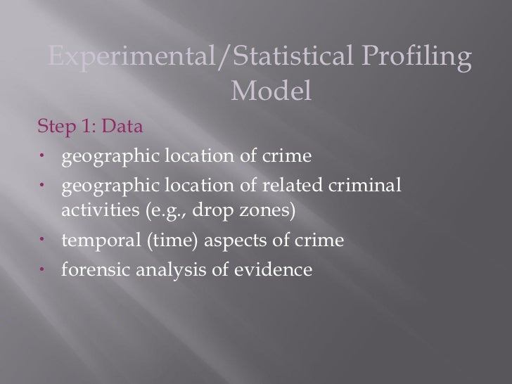 profiling models 7 experimental statistical profiling