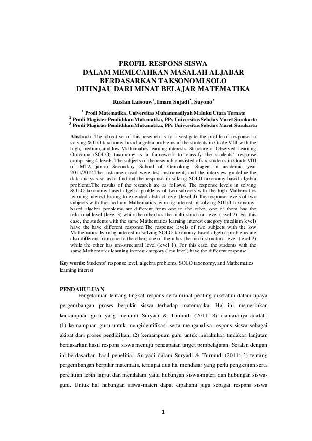 1 PROFIL RESPONS SISWA DALAM MEMECAHKAN MASALAH ALJABAR BERDASARKAN TAKSONOMI SOLO DITINJAU DARI MINAT BELAJAR MATEMATIKA ...