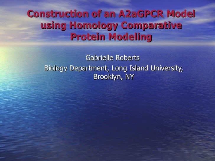Construction of an A2aGPCR Model using Homology Comparative Protein Modeling Gabrielle Roberts  Biology Department, Long I...