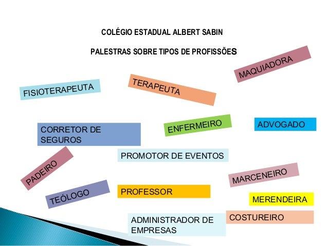 COLÉGIO ESTADUAL ALBERT SABIN PALESTRAS SOBRE TIPOS DE PROFISSÕES PADEIRO ENFERMEIRO PROFESSOR MAQUIADORA COSTUREIRO FISIO...