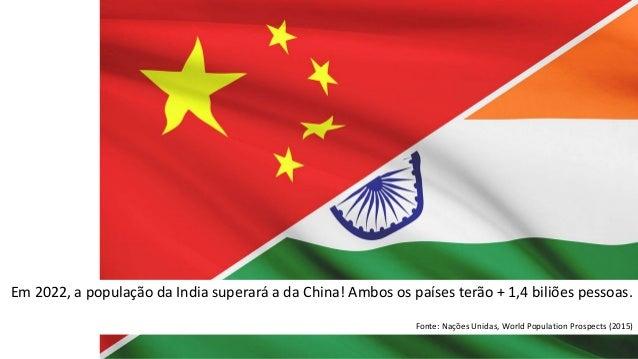 Em 2022, a população da India superará a da China! Ambos os países terão + 1,4 biliões pessoas. Fonte: Nações Unidas, Worl...