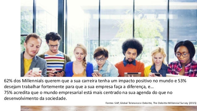 62% dos Millennials querem que a sua carreira tenha um impacto positivo no mundo e 53% desejam trabalhar fortemente para q...