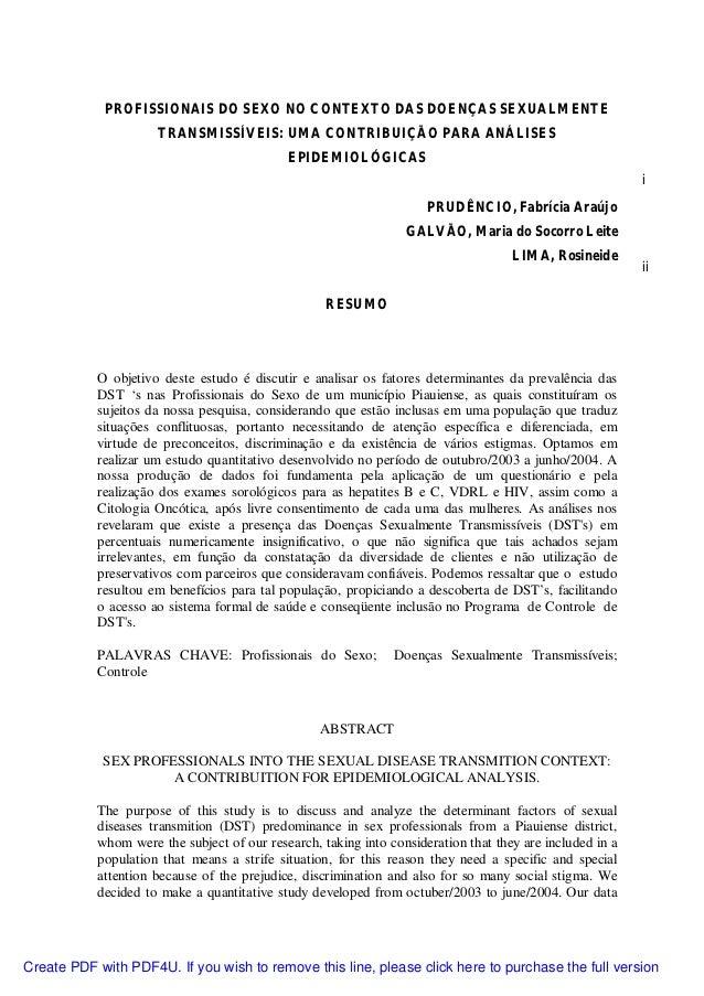PROFISSIONAIS DO SEXO NO CONTEXTO DAS DOENÇAS SEXUALMENTE                     TRANSMISSÍVEIS: UMA CONTRIBUIÇÃO PARA ANÁLIS...